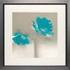 North American Art 'Aqua Platinum Petals II' by J.P. Prior Framed Painting Print