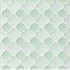 Bedrosians Mallorca Glass Flora Mosaic Tile in White Linen and Green