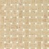 Bedrosians Pasha Basket Weave Polished Marble Mosaic Tile in Cappuccino and Corinthian White