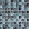 "Bedrosians Ice Crackle 1"" x 1"" Glass Mosaic Tile in Blue"