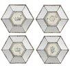 Derry's 4-tlg. Glasbild-Set Hexa, Grafikdruck