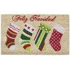 J and M Home Fashions Feliz Navidad Stocking Coco Doormat