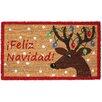 J and M Home Fashions Feliz Navidad Reindeer Coco Doormat