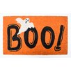 J and M Home Fashions Halloween Boo! With Ghost Doormat