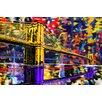 Maxwell Dickson 'Brooklyn Bridge' New York City Graphic Art on Wrapped Canvas