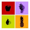 Maxwell Dickson 4-Piece Fruits Graphic Art on Canvas (Set of 4)