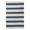 Green Decore Avenue Stripes Hand-Woven Navy/White Area Rug