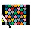 KESS InHouse Up and Down Hearts on Black by Project M Cutting Board
