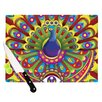 KESS InHouse Peacolor by Roberlan Rainbow Peacock Cutting Board