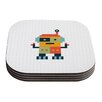 KESS InHouse Happy Robot Daisy Beatrice Coaster (Set of 4)