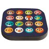 KESS InHouse Smiley Faces Daisy Beatrice Animals Coaster (Set of 4)