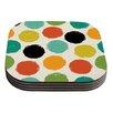 KESS InHouse Retro Dots Daisy Beatrice Circles Coaster (Set of 4)