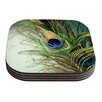 KESS InHouse Peacock Feather by Sylvia Cook Coaster (Set of 4)