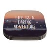 KESS InHouse Life Is A Daring Adventure by Jillian Audrey Typography Coaster (Set of 4)
