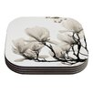 KESS InHouse Magnolia Blossoms by Iris Lehnhardt White Floral Coaster (Set of 4)
