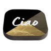 KESS InHouse Ciao Metallic Coaster (Set of 4)