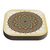 KESS InHouse Floral Mandala by Famenxt Multicolor Geometric Coaster (Set of 4)