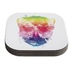 KESS InHouse Butterfly Skull by Frederic Levy-Hadida Rainbow Coaster (Set of 4)