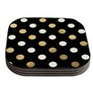 KESS InHouse Golden Dots -Tags Coaster (Set of 4)