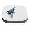 KESS InHouse Shark Record by Graham Curran Coaster (Set of 4)