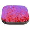KESS InHouse Water Flowers Crimson Lilac by Ebi Emporium Coaster (Set of 4)