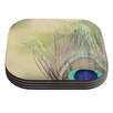 KESS InHouse Sun Kissed by Beth Engel Peacock Feather Coaster (Set of 4)