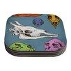 KESS InHouse Skulls by Sophy Tuttle Coaster (Set of 4)