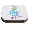 KESS InHouse Rainbow Key by Frederic Levy-Hadida Multicolor Music Coaster (Set of 4)