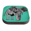 KESS InHouse Elephant of Namibia Color by Pom Graphic Design Coaster (Set of 4)