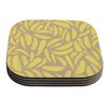 KESS InHouse Yellow Feather by Skye Zambrana Coaster (Set of 4)