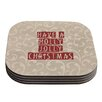 KESS InHouse Have A Holly Jolly Christmas by Sylvia Cook Holiday Coaster (Set of 4)