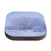 KESS InHouse Winter Tree by Alison Coxon Lilac Cutting Board Coaster (Set of 4)