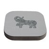 KESS InHouse Elephant by Belinda Gillies Coaster (Set of 4)