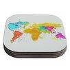 KESS InHouse World Map by Oriana Cordero Coaster (Set of 4)