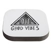KESS InHouse Good Vibes by Vasare Nar Coaster (Set of 4)