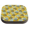 KESS InHouse Blue and Yellow Flowers by Nandita Singh Coaster (Set of 4)
