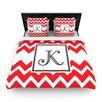 KESS InHouse Monogram Chevron Red Woven Duvet Cover