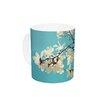 KESS InHouse Magnolias by Sylvia Cook 11 oz. Aqua Ceramic Coffee Mug