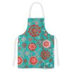 KESS InHouse Cherry Floral Sea by Nicole Ketchum Teal/Red Artistic Apron