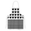 KESS InHouse Heart Stripes by Project M Monochrome Lines Artistic Apron