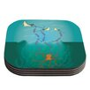 KESS InHouse Octopus Flying Manta Rays Coaster (Set of 4)