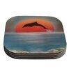 KESS InHouse Dolphin Sunset Coaster (Set of 4)