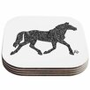 KESS InHouse Horsie Horse Illustration Coaster (Set of 4)