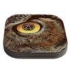 KESS InHouse Sharp Eye Owl Coaster (Set of 4)
