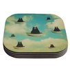 KESS InHouse Bears Floating Animals Coaster (Set of 4)