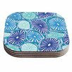 KESS InHouse Sea Coral - Blue Coaster (Set of 4)