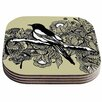 KESS InHouse Magpie Bird Coaster (Set of 4)