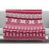 KESS InHouse Red Fairisle Christmas Pattern by Noonday Design Fleece Blanket