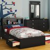 South Shore Spark Twin Mate's Bed with Drawers and Bookcase Headboard