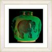 "Studio Works Modern ""Elephant Urn - Jade Green"" by Zhee Singer Framed Fine Art Giclee Painting Print"